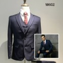 Korean Style Groom's Dark Blue Slim 2 Piece Suit
