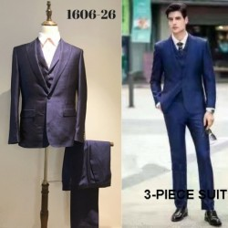 Groom's Slim Cut Dark Blue 3-Piece Suit