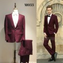 Korean Style Groom's Maroon 2 Piece Suit