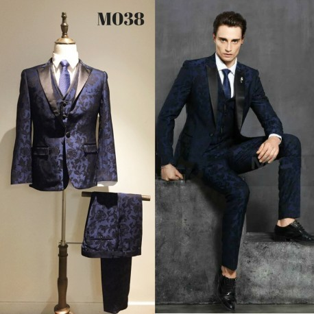 Korean Style Groom's Navy Blue Floral 5-Piece Suit