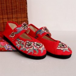 New Arrival Chinese Traditional Vintage Flower Embroidery Mary Jane Wedding Flats