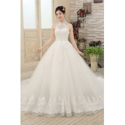 2017 New Arrival Luxury Vintage Diamante Halter Long-Tailed Wedding Dress