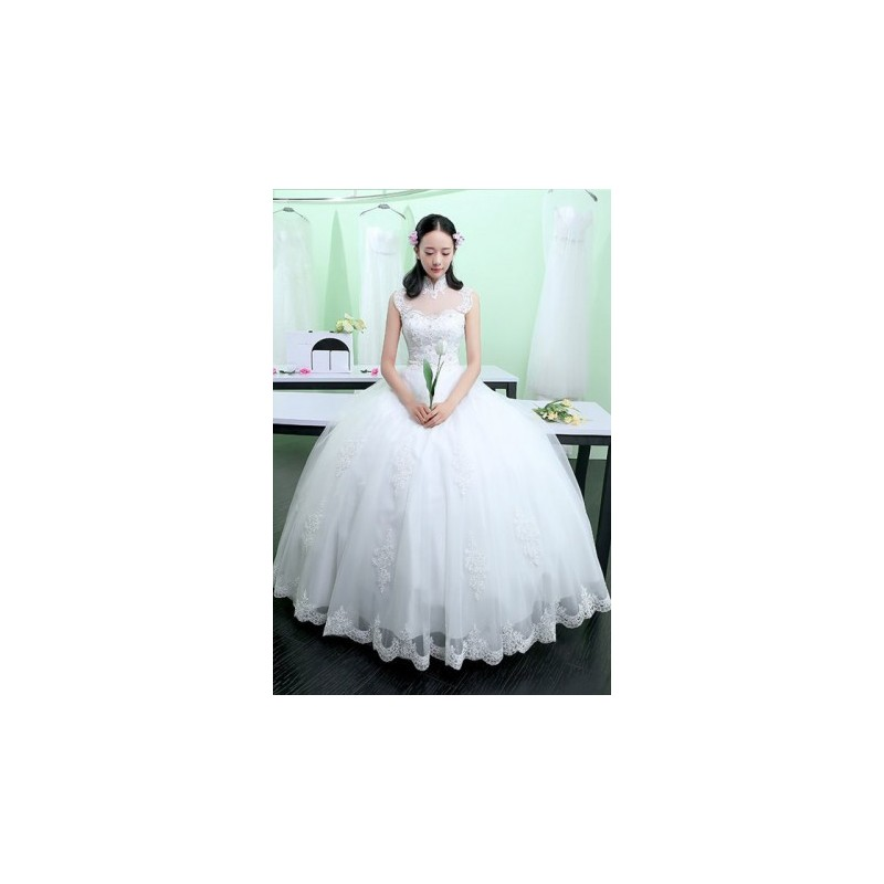 2017 Korean Princess Style High Collar Wedding Dress | Fashion