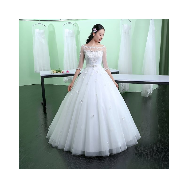 Korean Style Simple Sheer Sleeve Wedding Dress | Fashion
