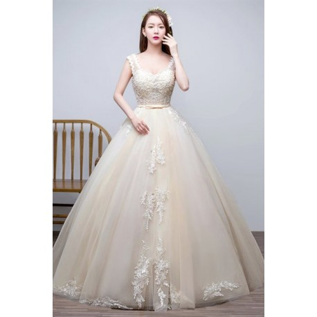 2016 New Arrival Lace Embroidery Sleeveless Wedding Dress