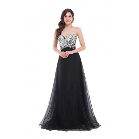 Shimmer Beaded Sweetheart Floor Length Tuelle Black Evening Gown