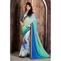 Multi Color Georgette Printed Saree With Blouse & Lace