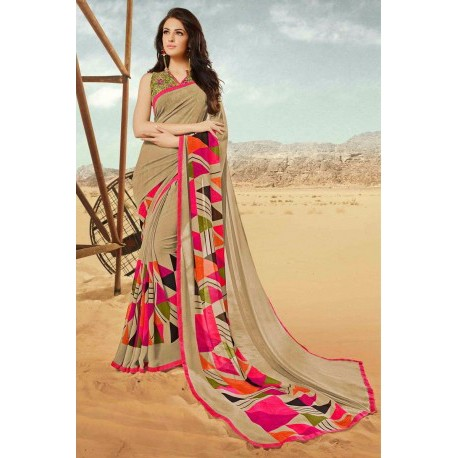 Light Brown Georgette Designer Saree With Fancy Pink Print