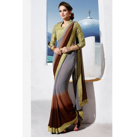 Grey and Maroon Partywear Georgette Printed Saree With Blouse