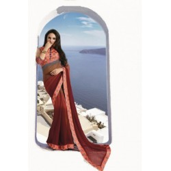 Maroon Brown Stylish Georgette Designer Saree