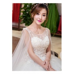 2017 New Spring & Summer Korean Style Wide Slevee Lace Wedding Dress