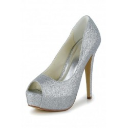 Glitter Peep-Toe Platform Wedding Shoes
