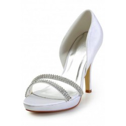 Diamond Open-Toe Wedding Shoes