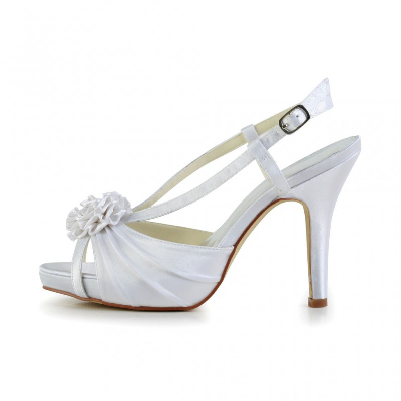 Flower peep toe platform wedding shoes bridal shoes - My peep toes ...