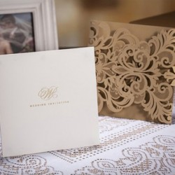 Gold Fancy Laser Cut Wedding Invitation Card