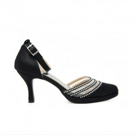 Joni Black Satin With Swarovski Rhinestone Evening Heels