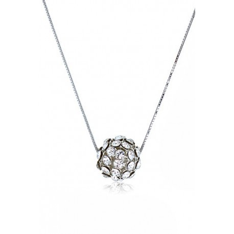 Kelvin Gems Glam Small Silver Diva Ball Pendant Necklace m/w SWAROVSKI Elements