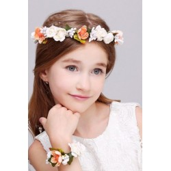 Floral Foam Wreath Headband with Corsage Set (WR-7)