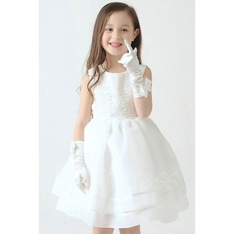 Sweet Embroidered Puffy Flower Girl Ball Gown
