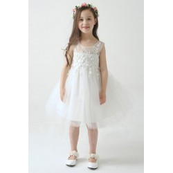 Spring Floral Embroidered Sleeveless Flower Girl Dress