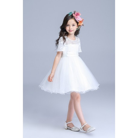 Pretty & Sweet Lacy Short Sleeve Flower Girl Dress