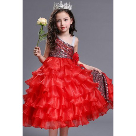 One Shoulder Organza Kids Pageant Princess Ball Red Gown | Fashion
