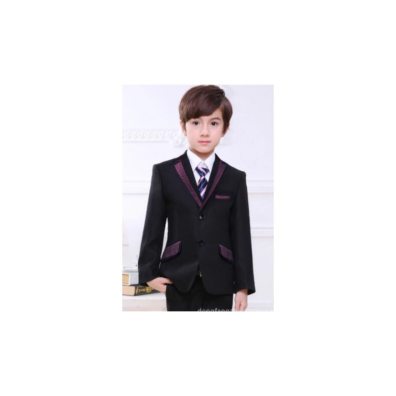 Luxury 5pcs Little Boy Man Coat Vest Set With Tie Maroon Printed Black