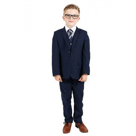 Luxury 5Pcs Little Boy/Man Coat Vest Set with Tie-Blue