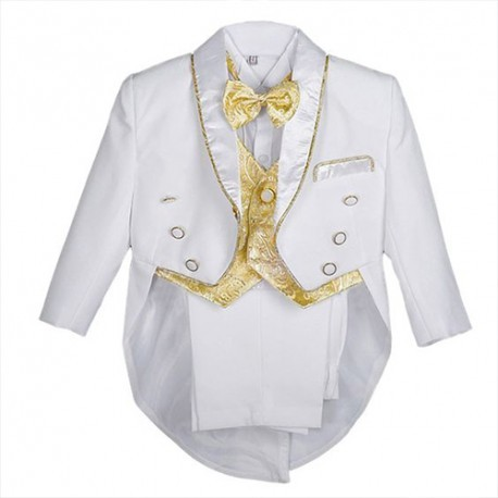 Boys' 5 Pieces Formal Gold Vest Tuxedo Suit With Tail Christening Outfit 1-4y White