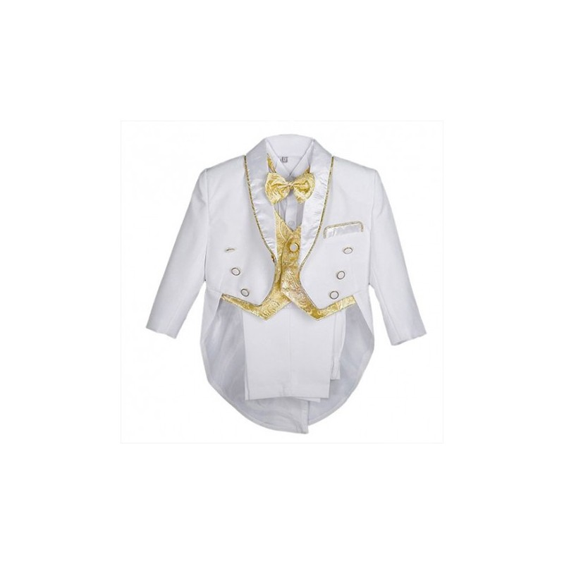 e694e4f23 Boys' 5 Pieces Formal Gold Vest Tuxedo Suit With Tail Christening Outfit  1-4y. Loading zoom
