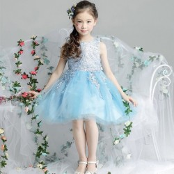 Cute Lace Sleeveless Short Tulle Flower Girl's Party Dress Sky Blue