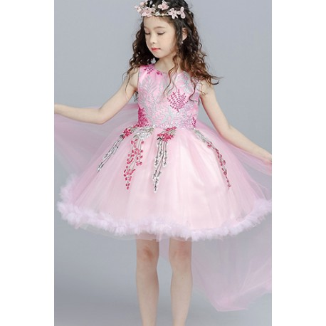 Exquisite Bow Lace Sleeveless Embroidery Bubble Dress Pink