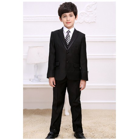 Luxury 5Pcs Little Boy/Man Coat Vest Set with Tie- Black