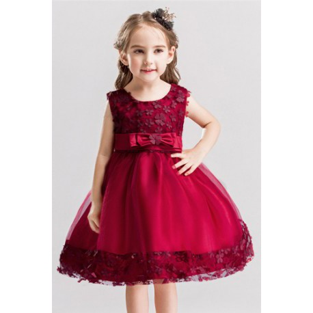 Elegant Rose Girl Ribbon Gown Maroon