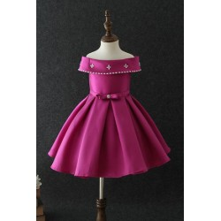 Chic and Luxury Crafted Patchwork Dress Magenta 3-10y