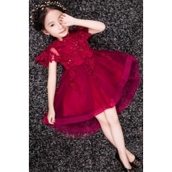 Luxury Shawl Lacy Flower Girl Evening Dress Birthday Gown Maroon