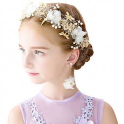 Children Hair Vine Wedding Headdress with Earing White