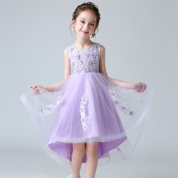 Pretty and Sweet High Low Purple Flower Girl Dress
