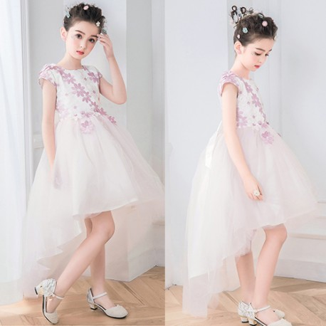 Elegant and Pretty 3D High Low Pink Flower Girl Dress