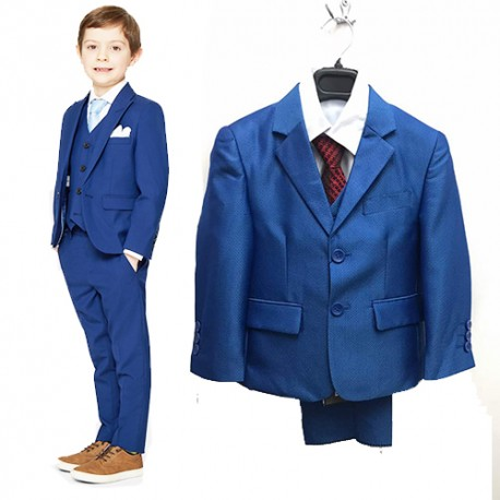 Luxury 5Pcs Little Boy/Man Coat Vest Set with Tie - Navy Blue