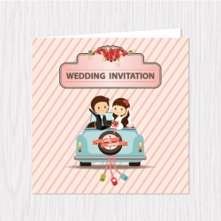 Cute Just Married Folded Cards - 100 pcs (3 Colors)