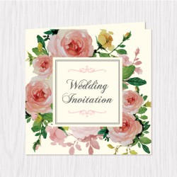 Blooming Floral Folded Cards - 100 pcs (3 Colors)